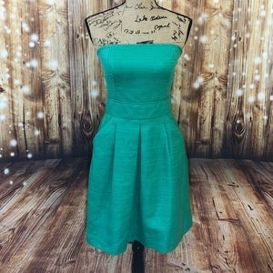 NWT Banana Republic green tweed strapless dress